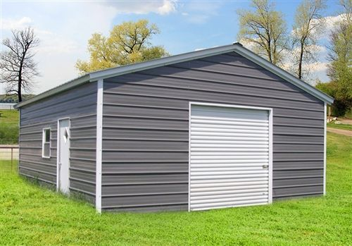 24x36 Vertical Roof Metal Garage Alan S Factory Outlet Metal Garages Metal Carports Metal Buildings
