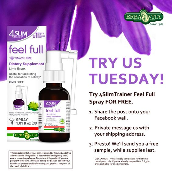 Happy Try Us Tuesday! Head over to our Facebook page to try Erba Vita for FREE!   Click through to SHARE this post on your Facebook page, PRIVATE MESSAGE us with your info and we'll have a FREE sample of 4Slim Trainer Feel Full Spray out to you ASAP. (Please do not leave your address in the comment section.)