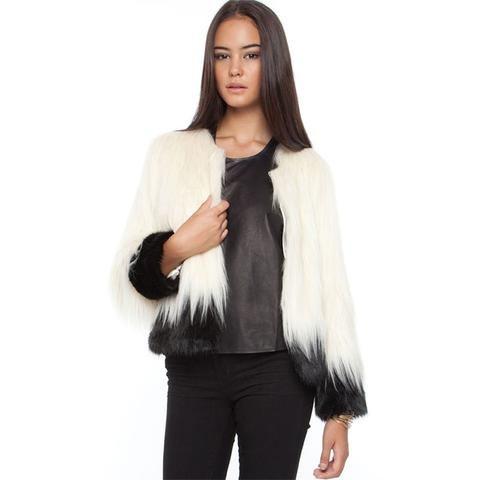 Color Block Fashion Women Fur Coat  LAVELIQ