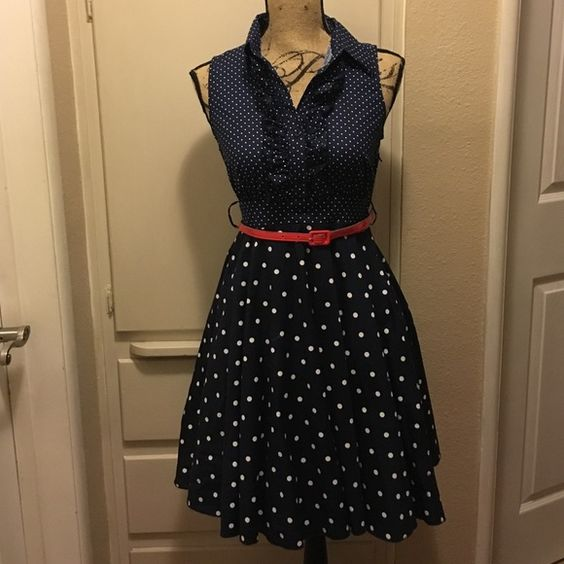 Bailey Blue Polka Dot Dress - No Tears- Blue Polka Dots and Be D