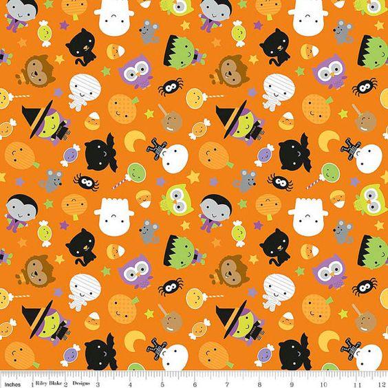 Tela del KNIT: Riley Blake Ghouls de punto en color naranja. Vendido por la…