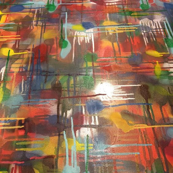 """My painting """"gridlock'd"""". (2015) Now on its way to its new home in minneapolis. #abstractpainting #abstractart #graffiti #greenbayart #aerosol #talentedpeopleinc by troyboyseventyfour"""
