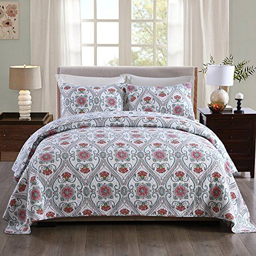 Newlake Cotton Bedspread Quilt Setsreversible Patchwork Coverlet Set Floral Paisley Garden Party Pattern Queen Size C Coverlet Bedding Bed Spreads Quilt Sets What is a coverlet quilt