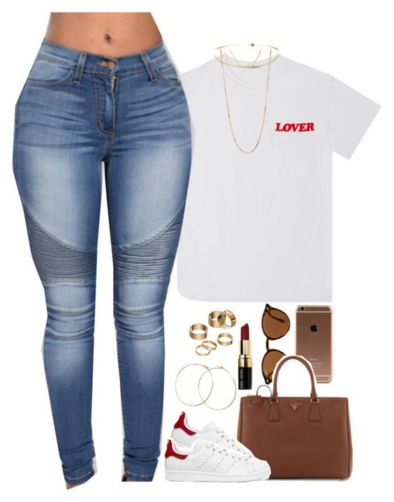 """""""ugh I'm loosing my touch"""" by daisym0nste ❤ liked on Polyvore featuring Ray-Ban, Prada, adidas Originals, Forever 21, Apt. 9, Bobbi Brown Cosmetics and Jennifer Creel"""