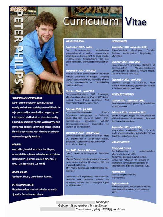 sollicitatie lab voorbeeld van een CV | bekijk het CV van Peter Philips op  sollicitatie lab