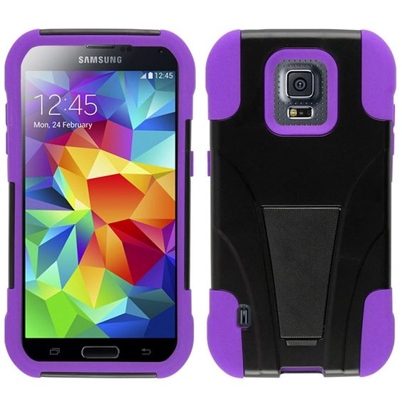 Zizo Inverse Armor Stand Protector Galaxy S5 Sport Case - Purple