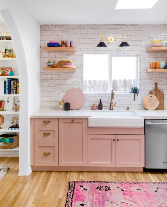 This Pink Kitchen Transformation Proves That Gut Renovations Are Worth the Stress #SOdomino #room #interiordesign #wall #furniture #chestofdrawers #shelf #cabinetry #floor #product #pink