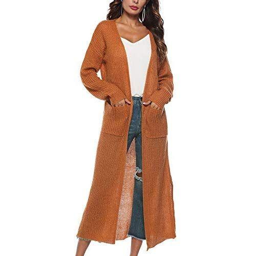 Blaward Womens Long Sleeve Open Front Long Maxi Cardigan