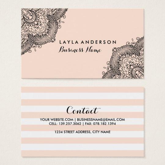 Pink Black Henna Design Business Cards Zazzle Com In 2021 Business Card Design Visiting Card Design Business Design