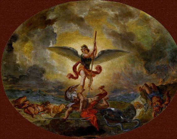 E. Delacroix, Michel terrassant le Dragon, 1849-61. St-Sulpice, Paris.
