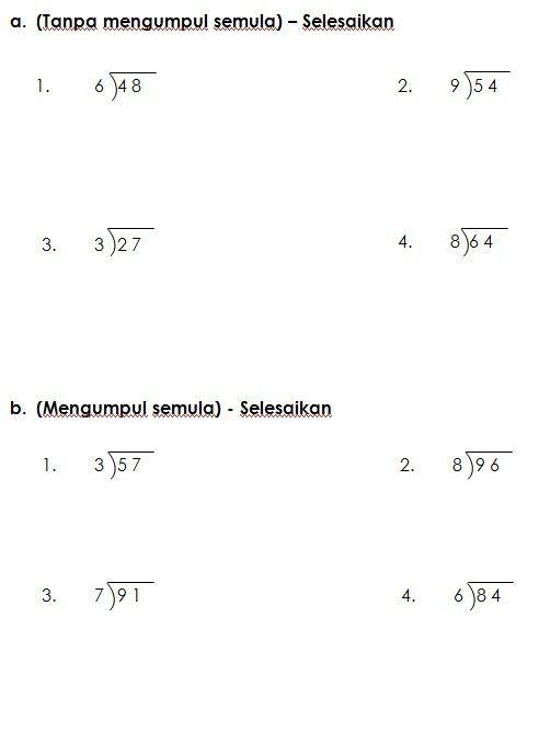 Latihan Bahagi Matematik Kssr Tahun 3 3rd Grade Math Worksheets 3rd Grade Math School Worksheets