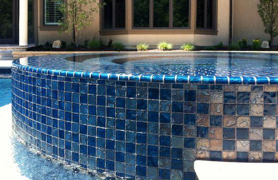 Glass tile spa, beadcrete, infinity spa Tuscan, Mediterranean pool and spa, reef, beadcrete