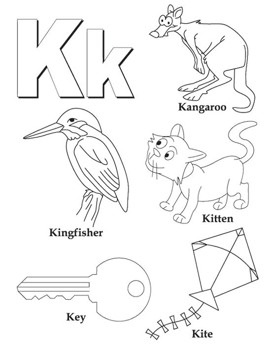 K For Animal Alphabet Coloring Pages