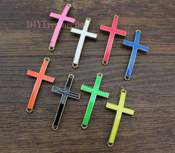 5PCS Neon CrossRainbow Enamel Epoxy Sideways by DIYTreasureBox, $2.38