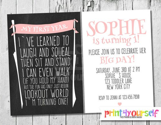 Personalized Baby Girls First Year Invitation by Print4Yourself