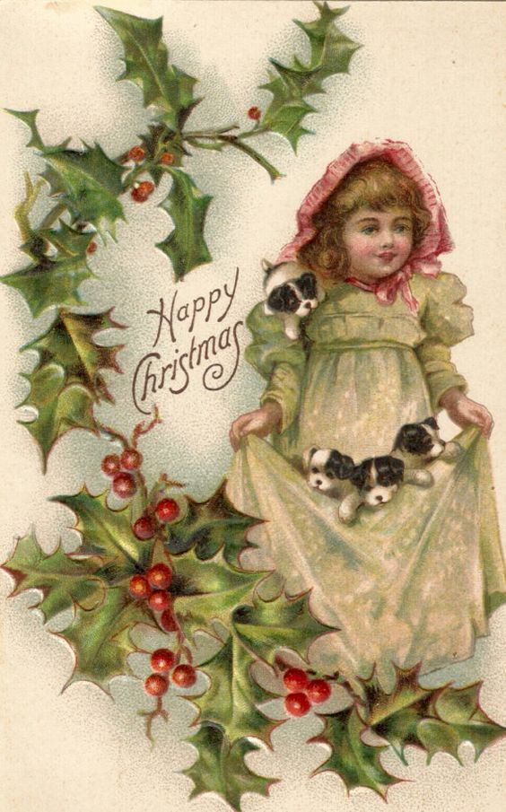 Antique Christmas postcard girl puppies dogs holly digital download printable image
