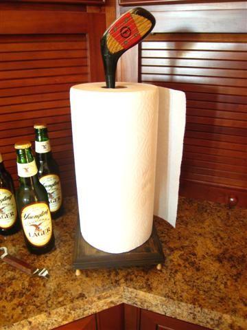 Fun Idea From Junk Camp. Golf Club Paper Towel Holder.