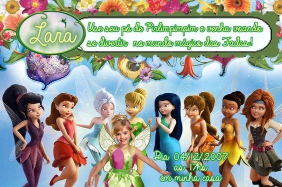 Convite digital personalizado Fadas Disney com foto 026
