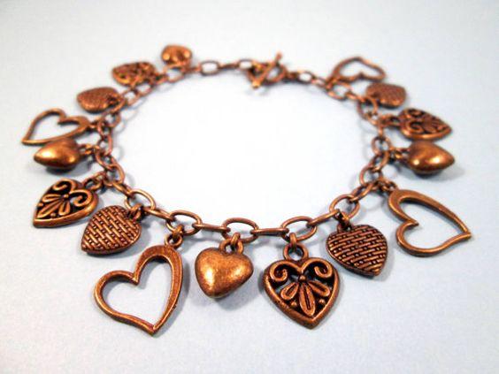 Sweetheart Bracelet, Brass Charm Bracelet, Victorian Heart Beaded Bracelet, FREE Shipping U.S.