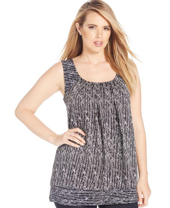 Alfani Plus Size Sleeveless Printed Top