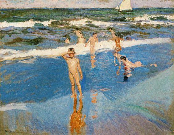 Niños en el mar. Playa de Valencia, 1908 - Joaquin Sorolla y Bastida (Spanish, 1863-1923)