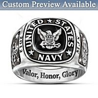 Navy Personalized Ring