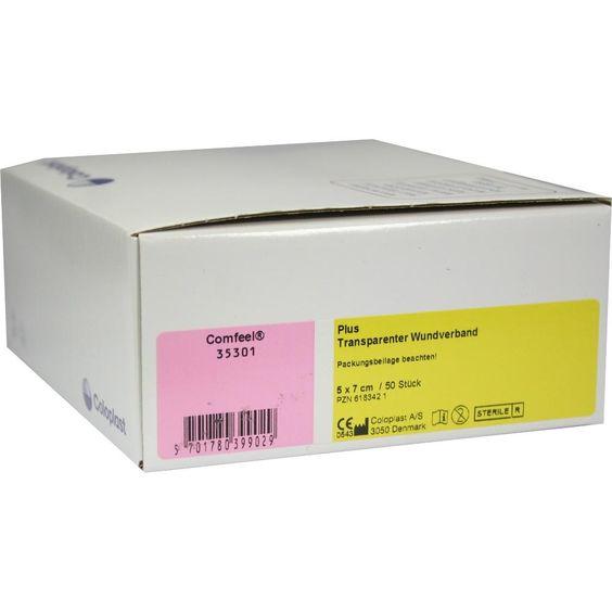 COMFEEL plus transparenter Wundverb.5x7 cm 35301:   Packungsinhalt: 50 St Verband PZN: 06183421 Hersteller: Coloplast GmbH Preis: 122,44…