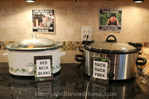 Hunting Theme Parties with Camouflage and Duck Dynasty Crock Pots from HappyandBlessedHome.com