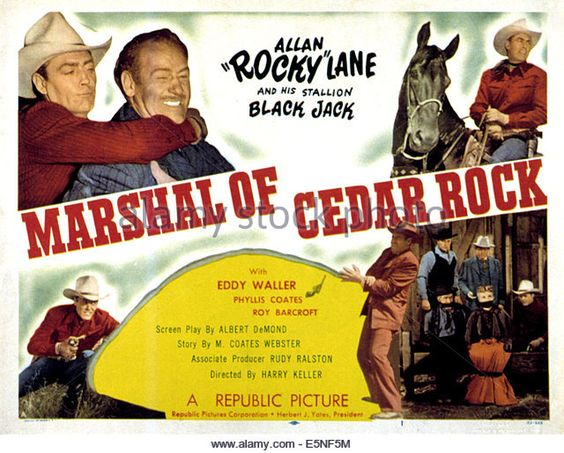santiago movie poster 1956 | MARSHAL OF CEDAR ROCK, Allan Lane, Roy Barcroft…