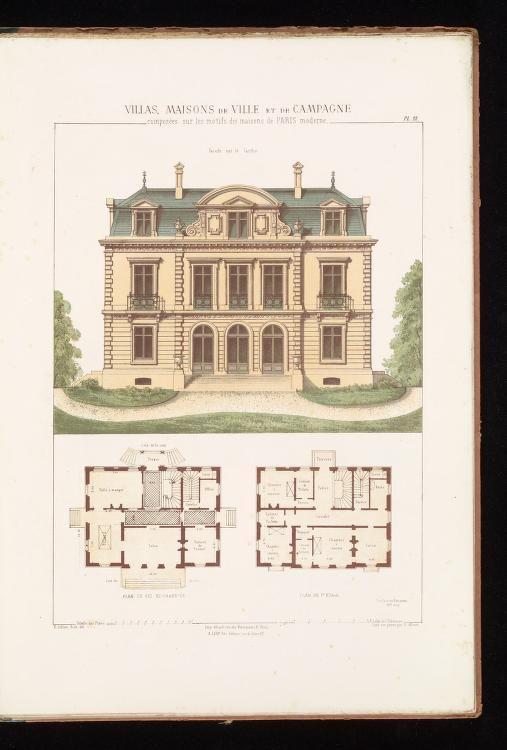 Villas Maisons De Ville Et De Campagne Composees Sur Les Motifs Des Habitations De Paris M Vintage House Plans Architectural House Plans Mansion Floor Plan