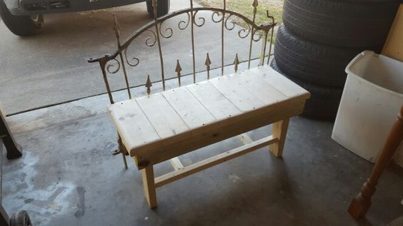 Wrought iron gate bench