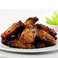 Grilled Buffalo Wings -- Recipe Makes 4 servings. Per serving: 218.9 calories, 4.3 g fat, 0.5 g sat fat, 19.6 g carbs, 7.6 g sugar, 4.4 g fiber, 28.7 g protein