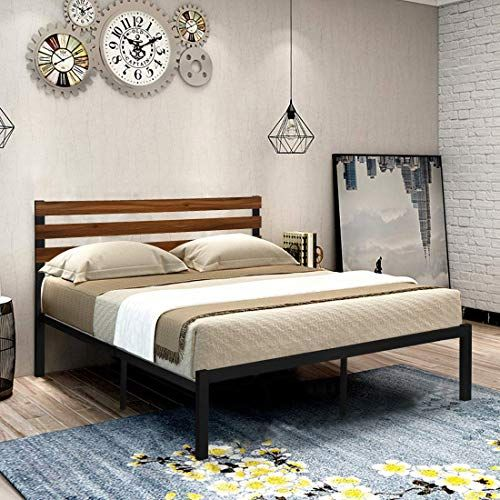Buy Greenforest Queen Bed Frame Metal Studio Platform Bed Wood