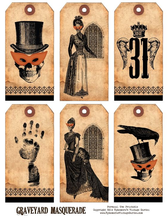 Happy freebie day! I've got a set of Halloween hang tags for you today. These graveyard ladies and gents are all dressed up for a masquerade ball. Add them to your party invitations or goodie bags ... Des étiquettes d'Hallowwen à imprimer, cliquez sur...