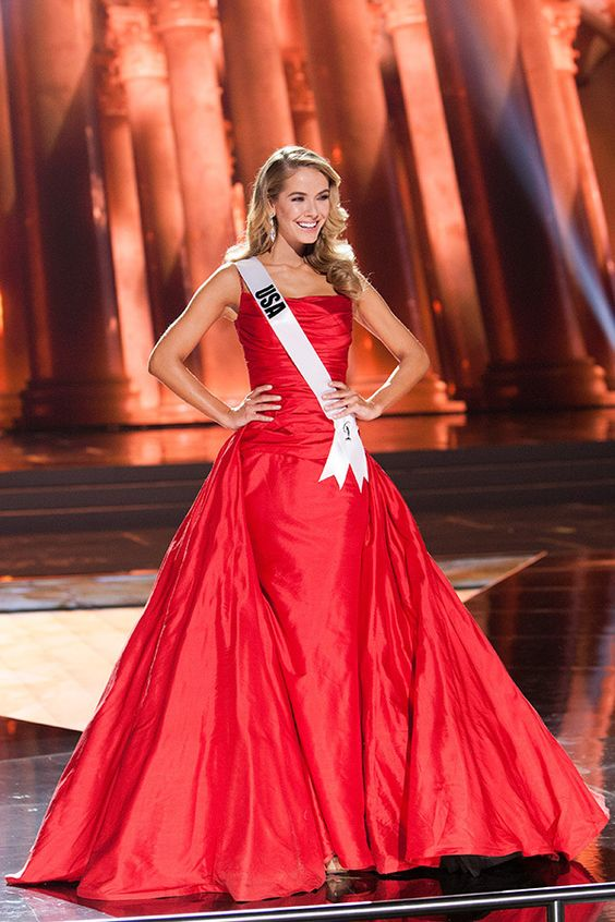 Miss USA 2015 Olivia Jordan Thomas wearing a Red Ballgown by Sherri Hill for the Preliminary.