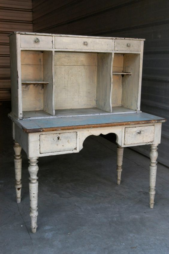 19th Century French Country Desk with Hutch by