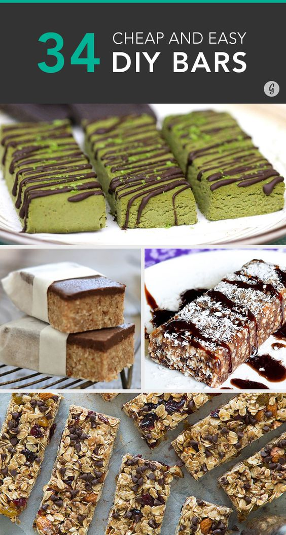 34 Cheap and Easy DIY Bars — Save money on your healthy snacks with these homemade bars. #bars #healthy #recipes #greatist