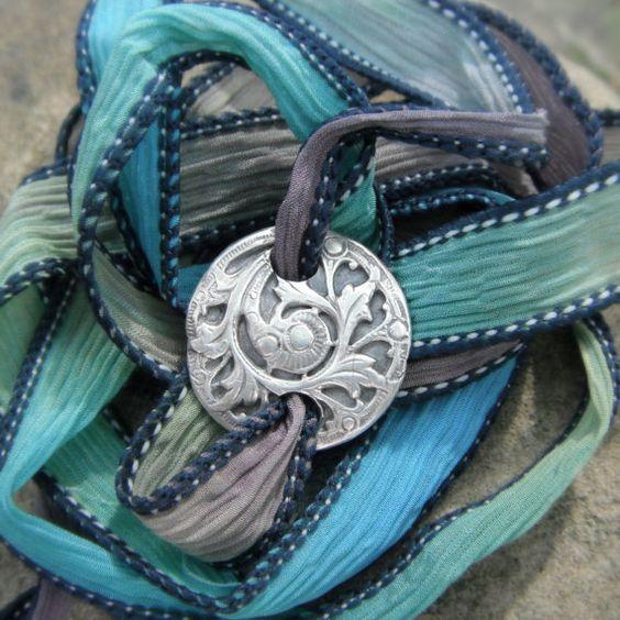 Silk Ribbon Wrap Bracelet Antique Fern Silk Wrap by SilvanArts