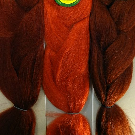 Kanekalon color comparison from left to right: D13 Rich Auburn, Burnt Orange, 350 Rusty Red
