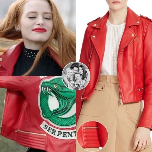 Cheryl Blossom Wears This Maje Basalt Red Leather Jacket