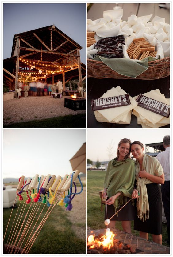 Reverie Magazine - Wedding & Style Blog   Bistro Lighting for the cabin and a cute s'more idea!