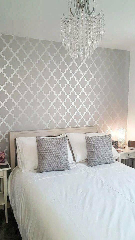Henderson Interiors Camden Trellis Wallpaper Soft Grey Silver H980527 Add Beau Silver Wallpaper Living Room Master Bedroom Wallpaper Wallpaper Decor Bedroom