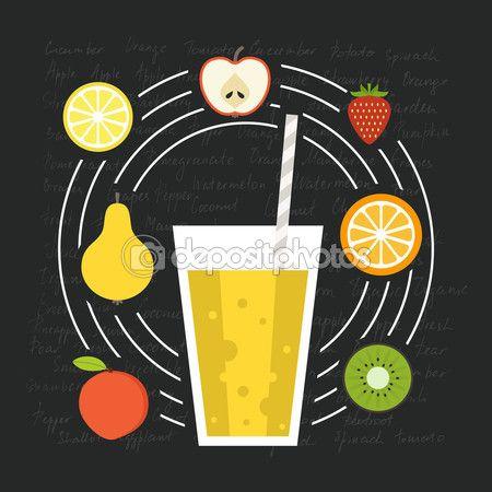 Smoothie de fruta fresca — Vector de stock