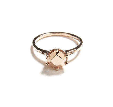 Rose gold band and cast gemstone Hazeline ring with pavé diamond accents and one hidden diamond burnish set on the inside of the ring band. By Anna Sheffield