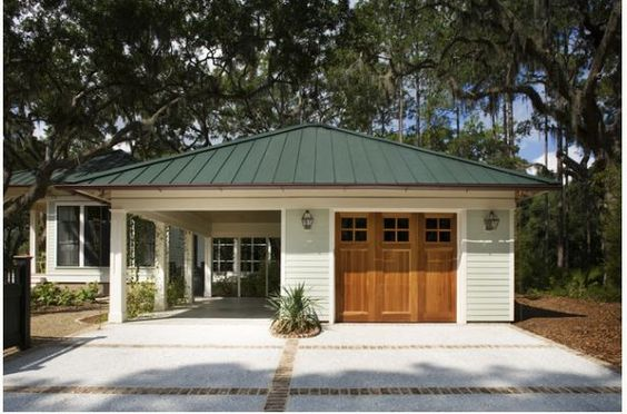 Traditional carport ideas and doors on pinterest for Carport garage combo