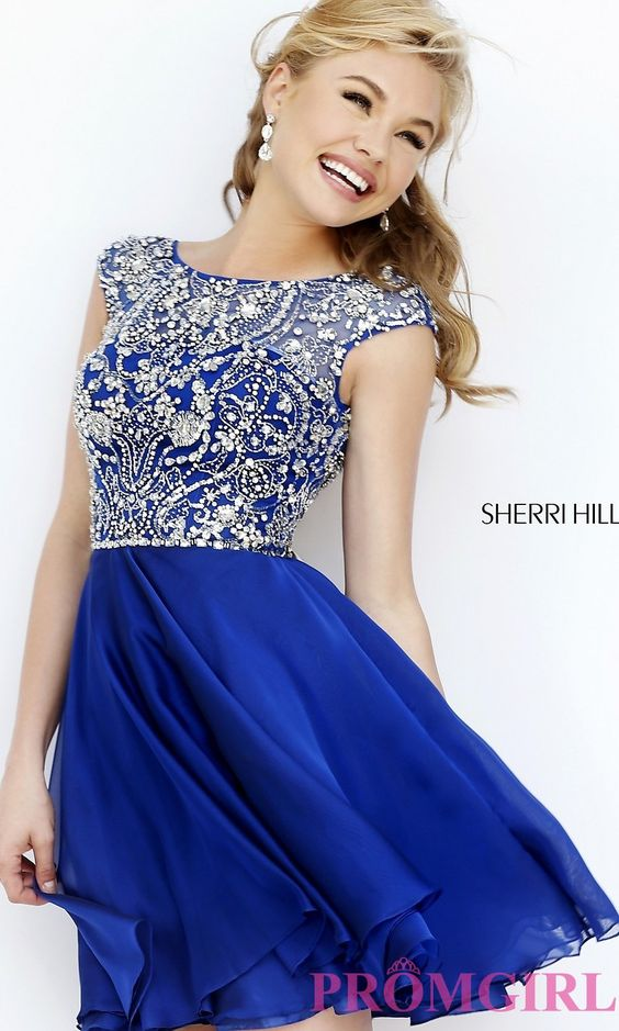 Prom Dresses, Celebrity Dresses, Sexy Evening Gowns: Short High Neck Dress with Cap Sleeves by Sherri Hill
