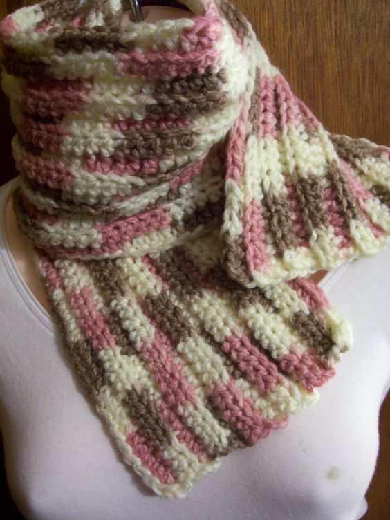 Crochet Scarf Variegated Acrylic Yarn by JahariDesigns on ...