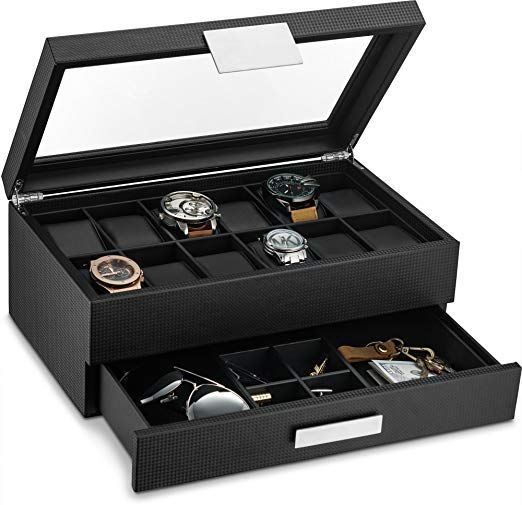 12 Large Compartments Each Watch Cushion Holds A Small Or Large Watch Neatly In Place There Is Plenty Of Avec Images Montre Homme Luxe Bijoux Masculins Tiroir A Bijoux