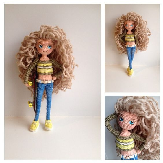 Amigurumi Curly Doll : Amigurumi doll and long curly on pinterest