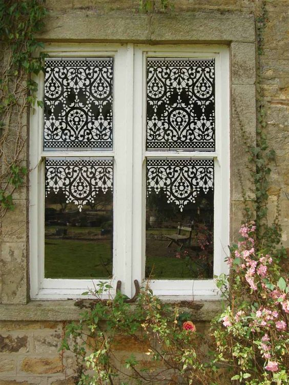 Stencilled window. Acrylic paint and OTT20 stencil. From The Stencil Library's blog.